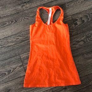 Orange Lululemon racerback tank top